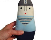 Eco Friendly Softie Sailor Doll for Baby - Organic Cotton Cloth Toy  -Toddler - Boy - Unisex - Nautical Baby Gift