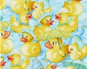 MadieBs  Rainy Day Ducks Cute  Cotton Fabric Fitted Crib or Toddler Bed Sheet