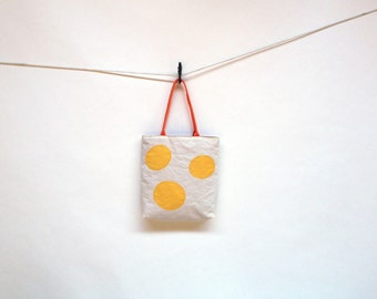 Recycled Sail Summer Tote - Yellow polka dots