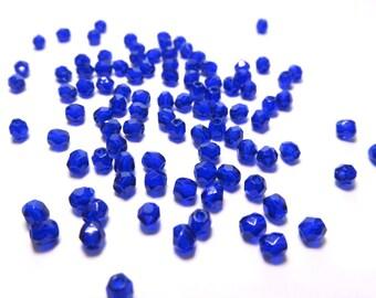 Tiny Cobalt Blue Faceted Czech Glass Beads, 3mm - 100 pieces