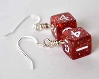 Mini Dice Earrings - D6 Six Sided Dice - Red Glitter Gamer Earrings - Geek Jewelry