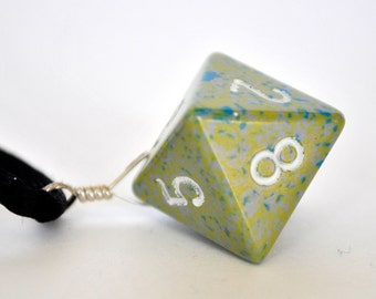 Dice Pendant Necklace - Grey and Blue D8 Eight Sided - Geeky Gamer Jewelry