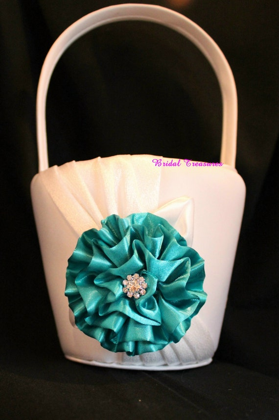 WHITE Satin Flower Girl Basket with Jade Satin Flower with Rhinestone Accent/Other Colors Available