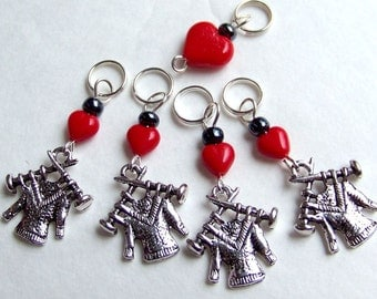Hand Made Stitch Markers -- Love Is A Hand Knit Sweater or Four
