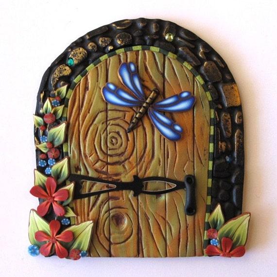 Dragonfly fairy door kids wall art home decor by claybykim for Fairy door wall art