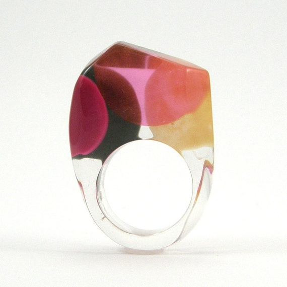 pink and black dot ring pop style resin ring geometric