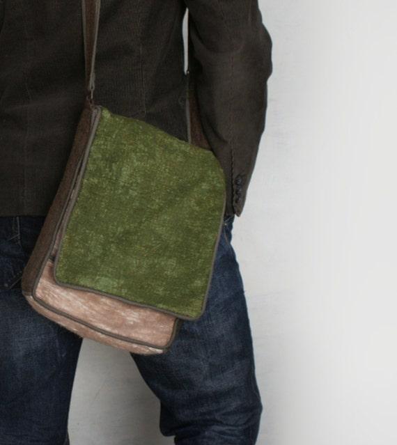 Stylish Brown Green Messenger Shoulder Felted Bag -- Hand felted wool -- Wearable Art - OOAK