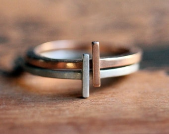 Modern geometric stack rings, modern stacking rings, rectangle ring, modern engagement ring, alternative rings, gold stacking rings