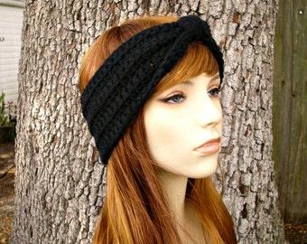 Womens Crochet Black Headband Black Ear Warmer Black Turban - Crochet Turban Headband - Womens Hair Accessories - Womens Accessories