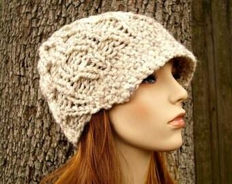 Knit Hat Womens Hat Wheat Cream Newsboy Hat - Amsterdam Beanie with Visor Wheat Cream Knit Hat - Cream Hat Cream Beanie Womens Accessories
