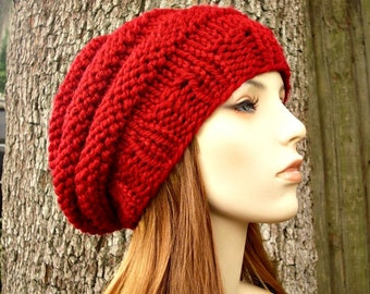 Knit Hat Womens Hat - Original Beehive Beret Hat in Cranberry Red Knit Hat Red Hat Red Beret Red Beanie Womens Accessories