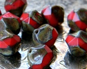 Rustic Rouge (10) -Czech Glass Central Cut Rounds 9mm
