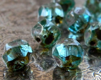 Aqua Pebbles (10) -Czech Glass Central Cut Rounds 8mm