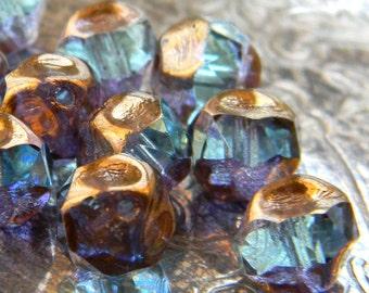 Fairy Pond  (10) -Czech Glass Central Cut Rounds 8mm