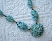 Sky Blue Celluloid Necklace with rhinestones