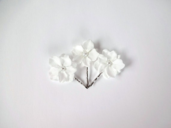 3 White Off Small Bridal  Flowers Hair Pins