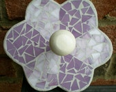 Stained Glass Mosaic Lavender Flower Wall Hanger or Wall Peg