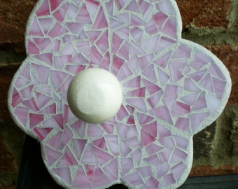Stained Glass Mosaic Pink Flower Wall Hanger or Wall Peg