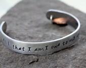 Memorial Bracelet - Aluminum , Copper Heart Cuff