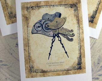 Clockwork Bird- Steampunk Note Card