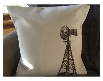 windmill  throw pillow cover,   pillow cover, farm