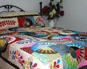 Queen Bed Quilt NEW YORK BEAUTY Scrappy Style in multicolor splendor Ready to Ship