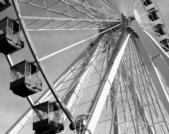 Historical Navy Pier Ferris Wheel, Chicago, 11x14, black and white, fine art print