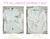 Monogrammed Oversized Men's Shirts for Bridal Parties with added cuff monograms and back monogram