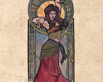 Nouveau Bellydancer - art nouveau bellydancer signed print - Mary Layton