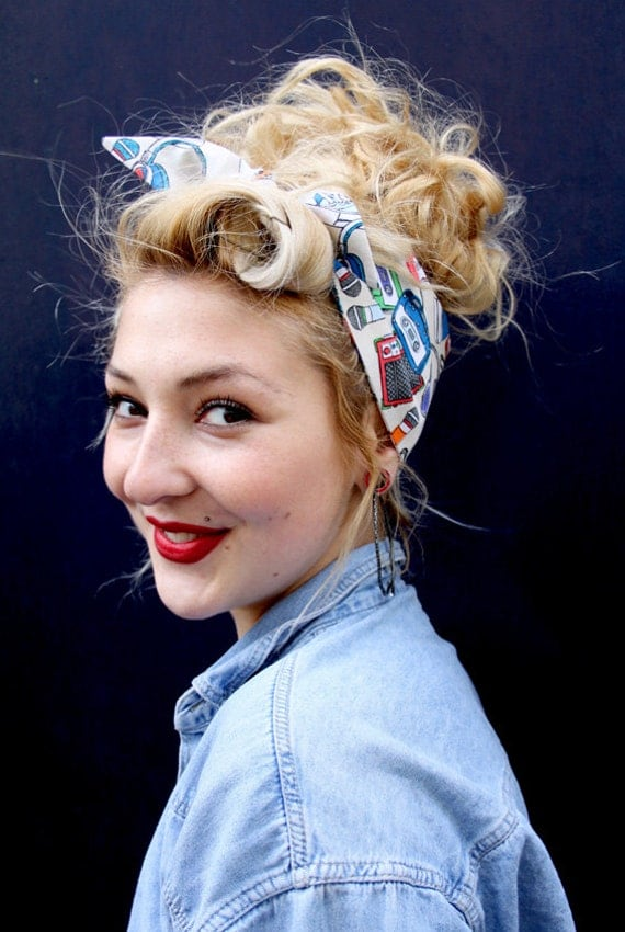 80s Tape Cassette Music Vintage Style 1950s Head Scarf / Hair