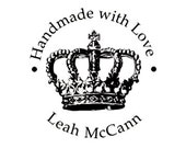 Crown handmade with love custom rubber stamp