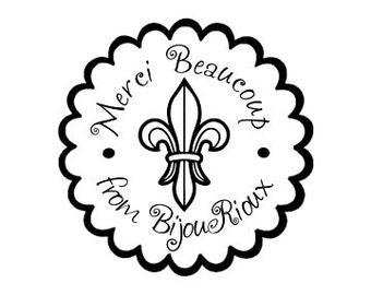 Merci Beaucoup Fleur de lis custom Rubber Stamp french