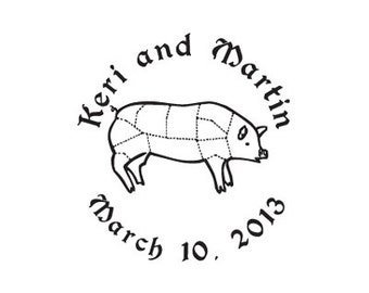 custom wedding stamp pig cutting chart Hog custom rubber stamp save the date