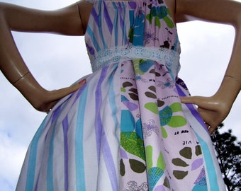 Flower Power Dress OOAK Upcycled Patchwork Sundress Purple Pink Blue Carnival Stripes Maternity Dress Mod Hippie Boho Fun M L XL Adult