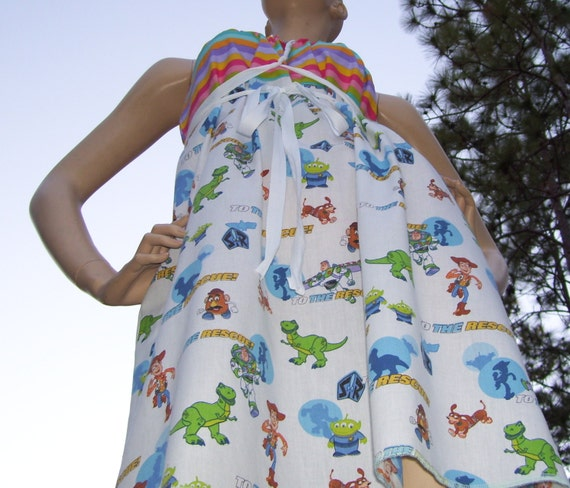 Toy Story Dress OOAK Upcycled Toy Story Disney Geek Convertible Sundress Free Size M L XL Plus Adult