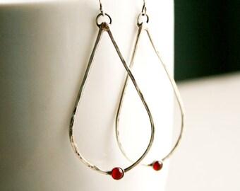 Reserved Sterling Silver Teardrop Earrings - Boho Earrings - Long Teardrop Earrings - Rustic Earrings