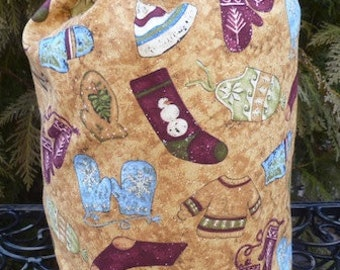 Sock knitting project bag, WIP bag, wintery days, drawstring bag, Suebee