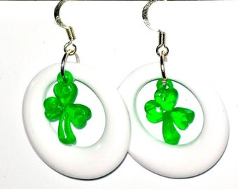 St. Patricks Day Shamrock Earrings In White Hoops  Ready to ship