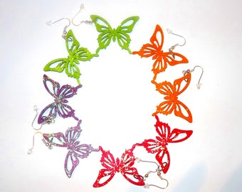 Butterfly Earrings Wood Cut Earrings Bright Spring Colors  Touch of Glitter READY TO SHIP