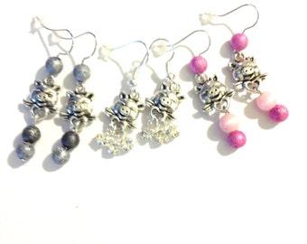 Smiling Pig Earrings   Rhinestones  Cat eye beads Dangle Earrings Pig Collectors