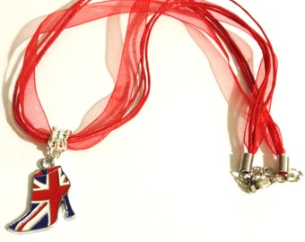 Union Jack Boot Necklace   British Flag  Fashion Boot Red Organza Necklace