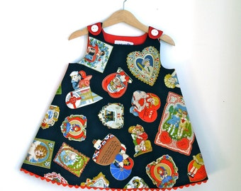 Valentine Love Letter Newborn, Baby, Toddler Girls Dress | Vintage Valentine's Day Card Holiday Frock | Sizes Newborn to Girls 4T