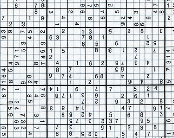 Timeless Treasures, Sudoku White Fabric - REMNANT Size 30 Inches by 44 Inches