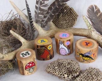 FOUR Woodland Name Blocks - Personalized Set of Alphabet blocks - OOAK