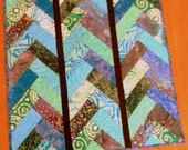 Quilted Tabletopper, Batik, Ocean Colors in Blues & Greens, Black Sashing, One of a Kind, Handmade Table Linens