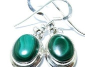 Sale: Petite Green Malachite and Sterling Silver Earrings