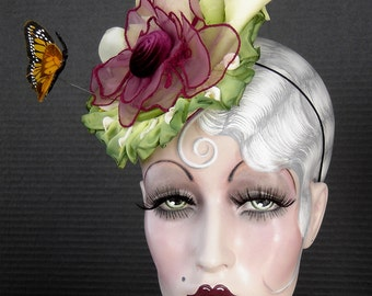 Calla Lilly's With Monarch Butterfly Fascinator Headpiece