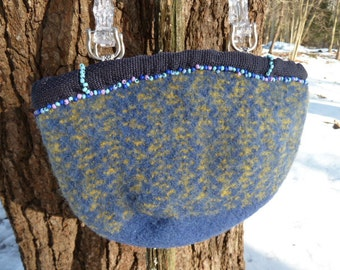 Blue hand knitted and felted Purse Free Shipping