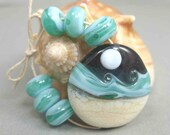 Lampwork Glass Bead Set - Focal and 6 Accents - Beach Waves by Moonlight