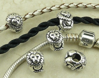 4 TierraCast Leo Lion Animal Euro Beads > King Cecil Simba Africa Safari - Fine Silver Plated Lead Free Pewter - I ship Internationally 5766